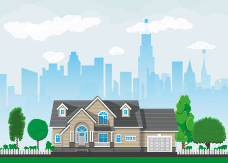 Private suburban house with trees, cityscape, sky and clouds. Vector illustration in flat style Illustration