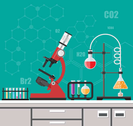 table lamp: Laboratory equipment, jars, beakers, flasks, microscope, spirit lamp on table. Biology science education medical vector illustration in flat style