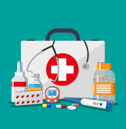 Medical first aid kit with different pills, phonendoscope and thermometer, healthcare. Vector illustration in flat style Illusztráció