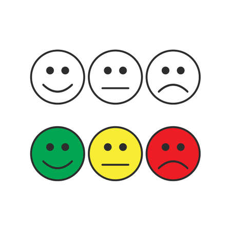 Smiley emoticons, positive, neutral and negative, black white and color. Vector illustration