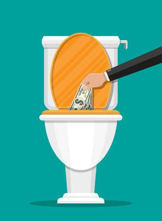 Zakenmanhand die dollarrekeningen in toilet zetten. Geld verliezen. Vectorillustratie in vlakke stijl
