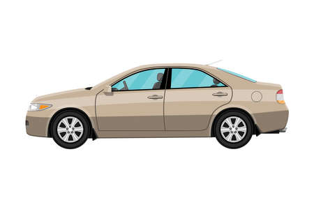 old and new: Generic brown sedan car isolated on white. Vector illustration in flat style