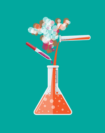 Chemical reaction in glass tube. Biology science education medical tests. Vector illustration in flat style