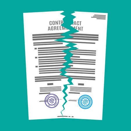 Torn in half contract document. Contract termination concept. Vector illustration in flat design