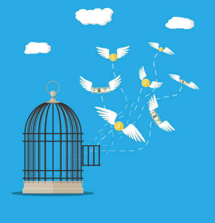 expenditure: Open cage with flying dollar bills and coins. Losing money concept. Vector illustration in flat style