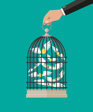 expenditure: Hand holds cage with flying money. Investment and savings. Vector illustration in flat style Illustration