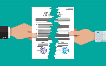 violate: Two hands torn in half contract document. Contract termination concept. Vector illustration in flat design