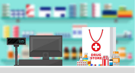 prescription bottles: Modern interior pharmacy or drugstore. Medicine products on shelves. Cash register. Shopping bag with different medical pills and bottles, healthcare and shopping. Vector illustration in flat style Illustration
