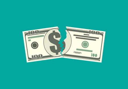 Desgarrar billetes de dinero en dos lugares. Ilustración vectorial en diseño plano