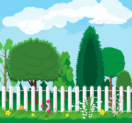 Summer nature landscape with forest and fence. Vector illustration in flat style