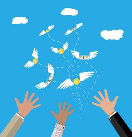 Dollars and coins with wings flying away from businessman hand. Losing money. Vector illustration in flat style
