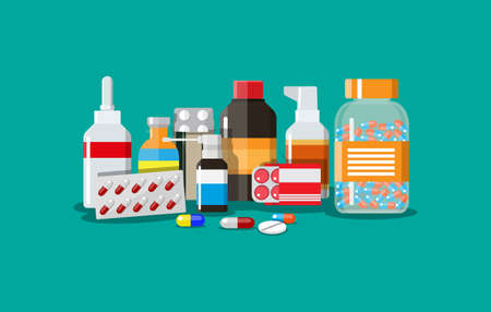 Different medical pills and bottles, healthcare and shopping, pharmacy, drug store. Vector illustration in flat style Ilustração