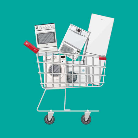 Household devices in shopping cart. Electronics stores sale. Microwave, washing machine, oven, fridge, dishwasher, air conditioner. Vector illustration in flat style