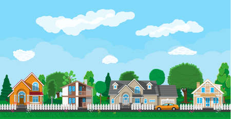 Private suburban houses with car, trees, road, sky and clouds. Village. Vector illustration in flat style Illustration