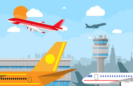 Cartoon background with gray airport control tower and flying red civil airplane after take off in blue sky with clouds, sun and city skyline silhouette. Vector illustration in flat design
