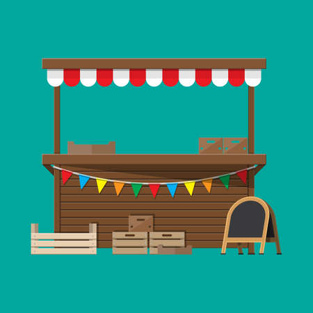 Traditional market empty wooden food stall with flags. Crates and chalk board. Vector illustration in flat style