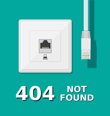 page not found: Error 404. Network socket and unplugged patch cord. Page not found. Vector illustration in flat style