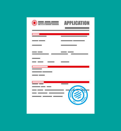 signing papers: Application form paper blank with seal. Vector illustration in flat style Illustration