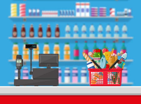 Supermarket interior. Cashier counter workplace. Shopping basket with food and drinks. Shelves with products. Cash register, pos terminal and keypad. Vector illustration in flat style Illustration
