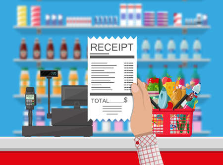 Supermarket interior. Cashier counter workplace. Hand with receipt. Basket with food and drinks. Shelves with products. Cash register, pos terminal and keypad. Vector illustration in flat style Illustration
