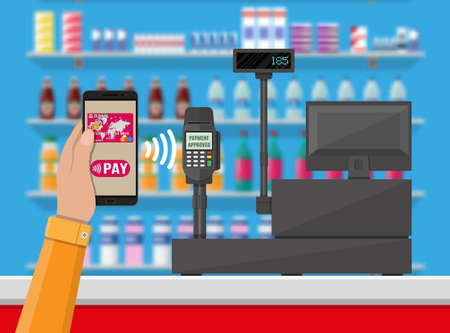 Pos terminal confirms payment by smartphone. Supermarket interior. Cashier counter workplace. Shelves with products. Cash register and keypad. Vector illustration in flat style Иллюстрация