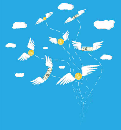 losing money: Dollars and coins with wings in the sky with clouds. Losing money. Vector illustration in flat style