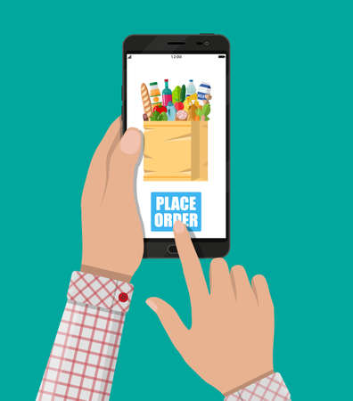 Hand holding smartphone with shopping bag full of food and drink. Grocery delivery. Internet order. Online supermaket. Vector illustration in flat style