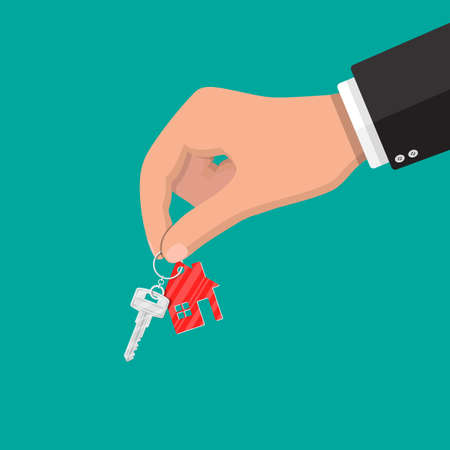 Hand holds metal key with keychain house in flat style. Buy, rental or lease a house. Vector illustration