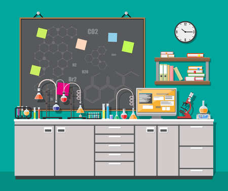 Laboratory equipment, jars, beakers, flasks, microscope, scales, spirit lamp on table. Computer, shelf with books. Agenda board. Biology science education medical vector illustration in flat style