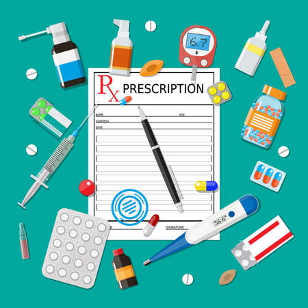 Medicine pills capsules and bottles and healthcare devices. Rx prescription form and pen. Tablets in flat style. Medical icons set. Vector illustration