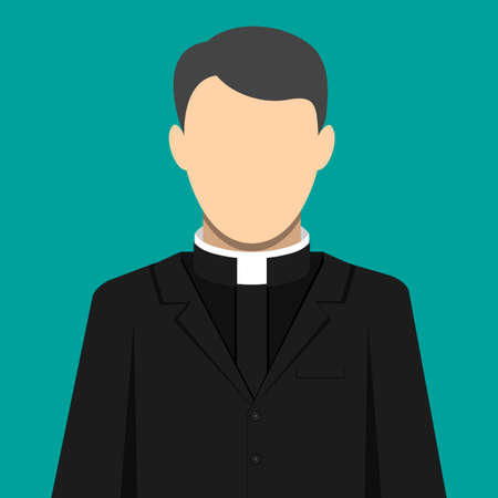 Catholic priest person. Pastor servant of god in cassock. Vector illustration in flat style Illustration