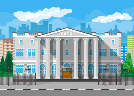 Bank building with city skylines and trees behind. Road, fence, street lamp. Blue sky with clouds. Vector illustration in flat style