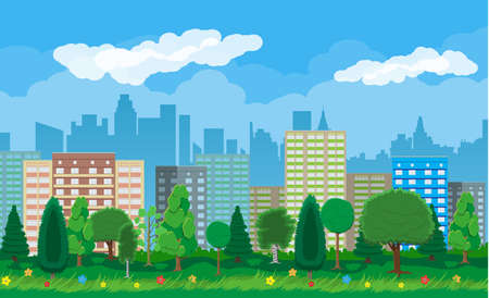 residental: Modern city view. Cityscape with office and residental buildings, city park with trees and flowers, sky and clouds. Vector illustration in flat style