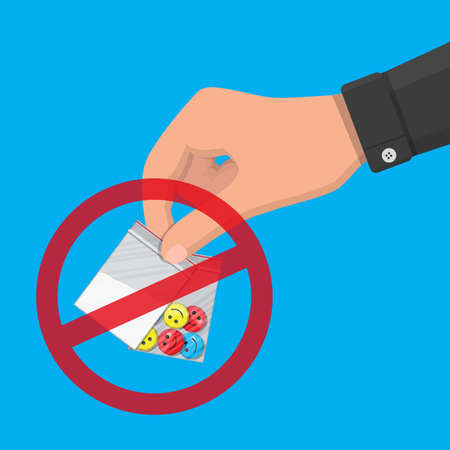 Hand of the drug dealer holding bag of narcotic pills and cocaine. Anti-drug concept. Vector illustration in flat style Illustration