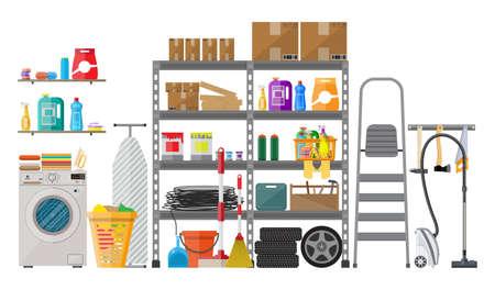 Innenraum des modernen Abstellraums mit Metallregalen, Lagerung, Boxen, Treppen, Räder, Reinigungszubehör, Waschmaschine, Bügeleisen, Vakuum. Haushalt. Vektor-Illustration in flachen Stil Vektorgrafik