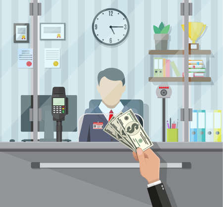 Bank teller behind window. Hand with cash. Books, cup, plant, clocks, computer and keypad terminal. Depositing money in bank account. People service and payment. Vector illustration in flat style Vetores