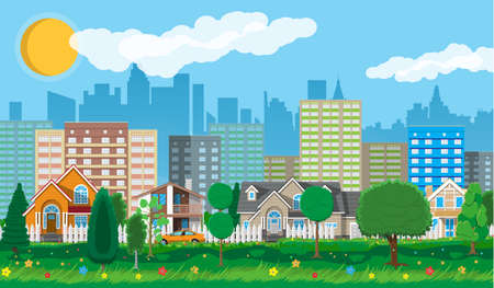 Private suburban houses with car, trees, road, sky and clouds. Cityscape. City suburbs. Vector illustration in flat style