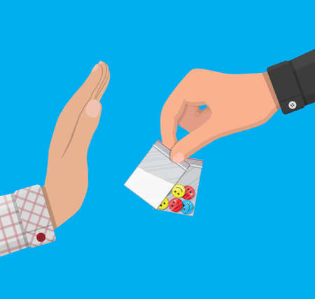 Hand of the drug dealer gives bag of narcotic pills and cocaine to other hand. Anti-drug concept. Rejection. Vector illustration in flat style
