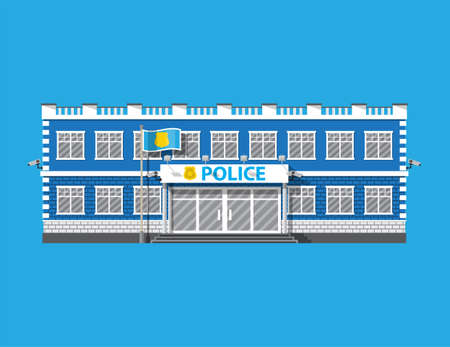 Police station building. Security cameras, flag with police symbol. Law, protection. Vector illustration in flat style Illustration