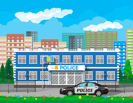 City police station biulding, car, tree, cityscape, flowers. Security cameras, flag with police symbol. Law, protection. Vector illustration in flat style Illustration