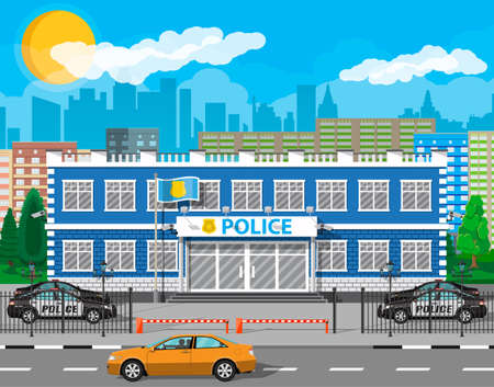 City police station biulding, car, tree, cityscape. Security cameras, flag with police symbol. Law, protection. Vector illustration in flat style