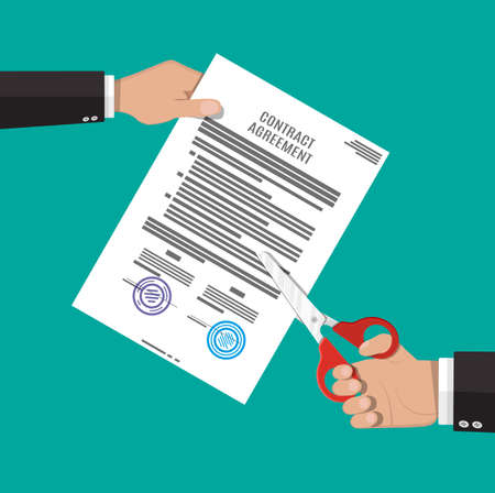 disagree: Businessman hand with scissors cutting contract document. Contract termination concept. Vector illustration in flat style Illustration