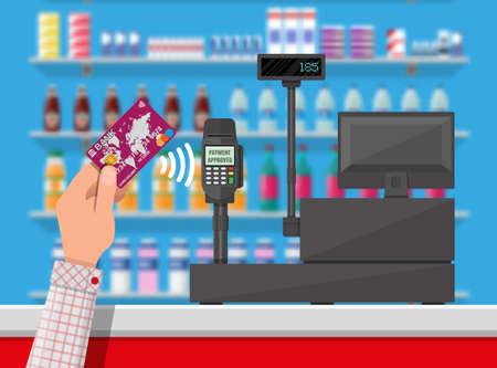 El terminal POS confirma el pago con tarjeta bancaria. Foto de archivo - 74163080