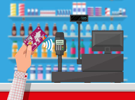 Pos terminal confirms payment by bank card.