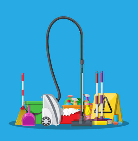 cleaning kitchen: Cleaning set vector illustration in flat style