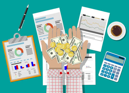 Hands with money and clipboard with financial reports and pen.  イラスト・ベクター素材