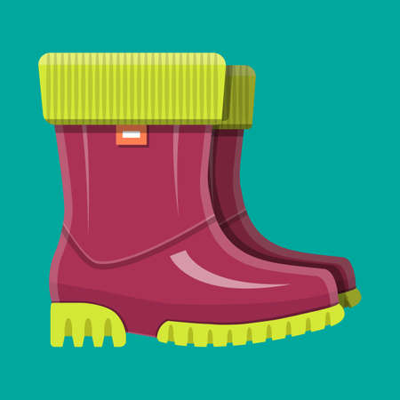 Rubber boots. Shoes for rain. Waterproof footwear. Work and protective equipment. Vector illustration in flat style