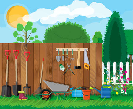 Gardening tools set. Equipment for garden. Saw bucket ax wheelbarrow hose rake can shovel secateurs gloves boots. Wooden fence, flower, grass, tree, sky, cloud. Vector illustration in flat style Illustration