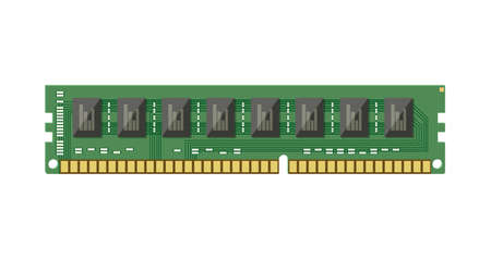 RAM flash memory chip isolated on white. Random access memory. PC hardware. Components for personal computer. PCB icon. Vector illustration in flat style