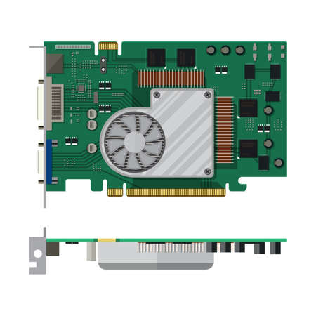 pci: Video card isolated on white. PC hardware. Components for personal computer. Graphic card icon. Vector illustration in flat style Illustration